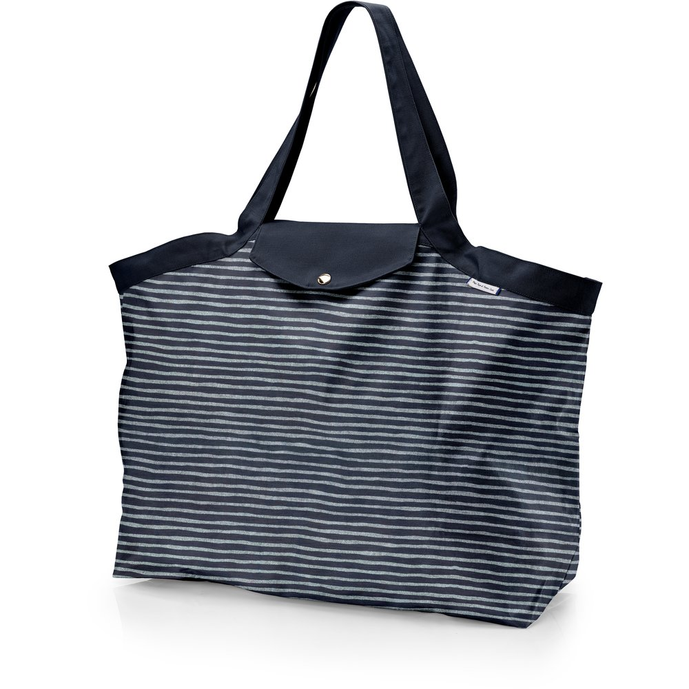 Tote bag with a zip striped silver dark blue