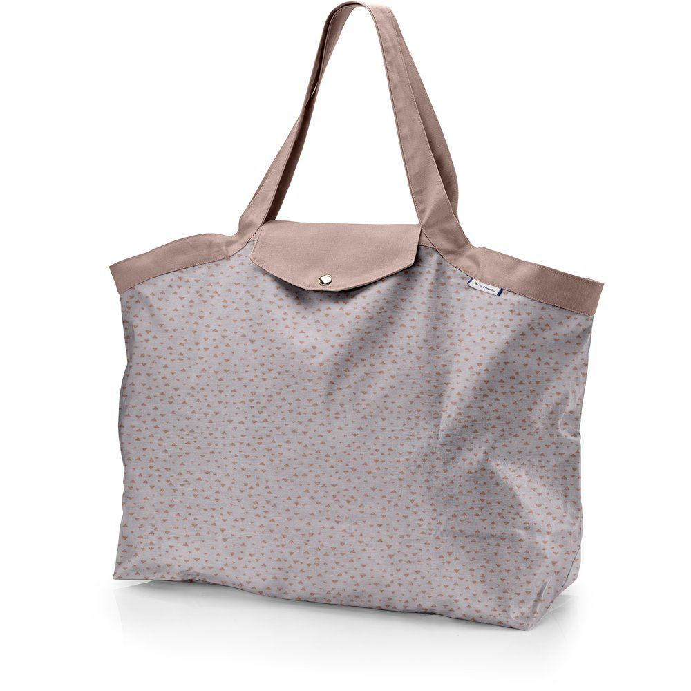 Tote bag with a zip triangle cuivré gris