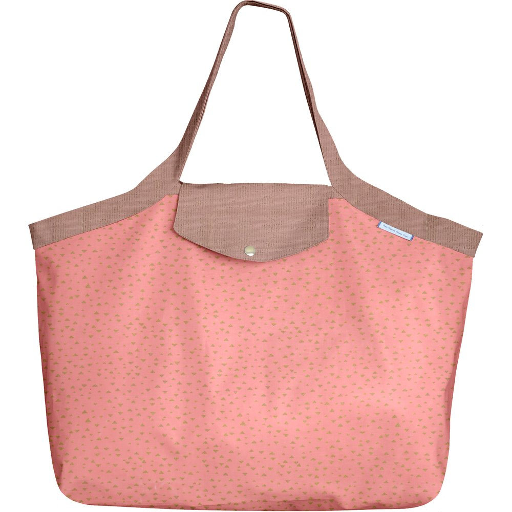 Tote bag with a zip triangle or poudré