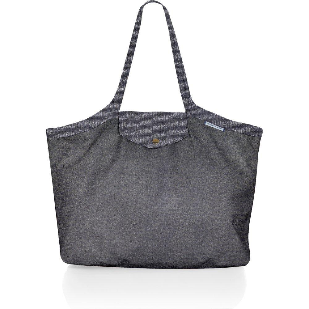 Bolso  cabas  mediano con cremallera gris plateado