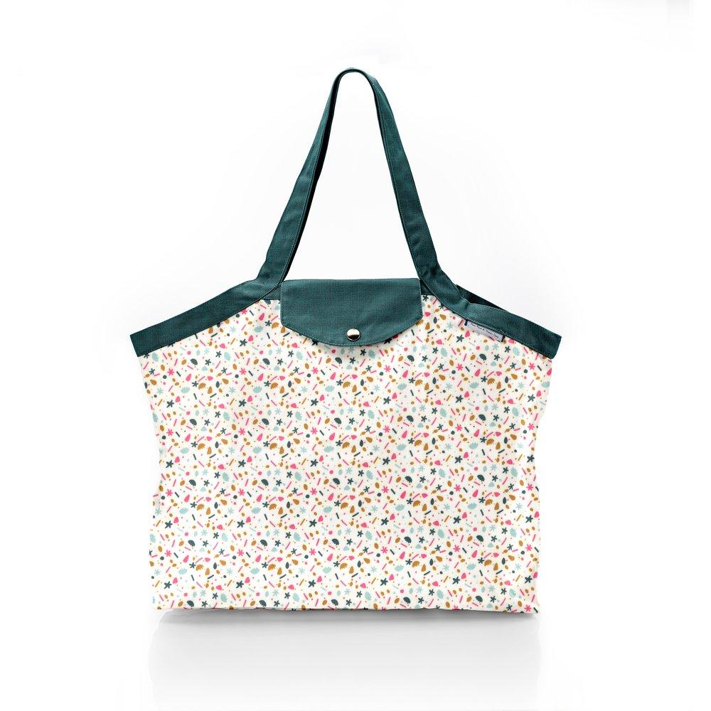 Pleated tote bag - Medium size sea side