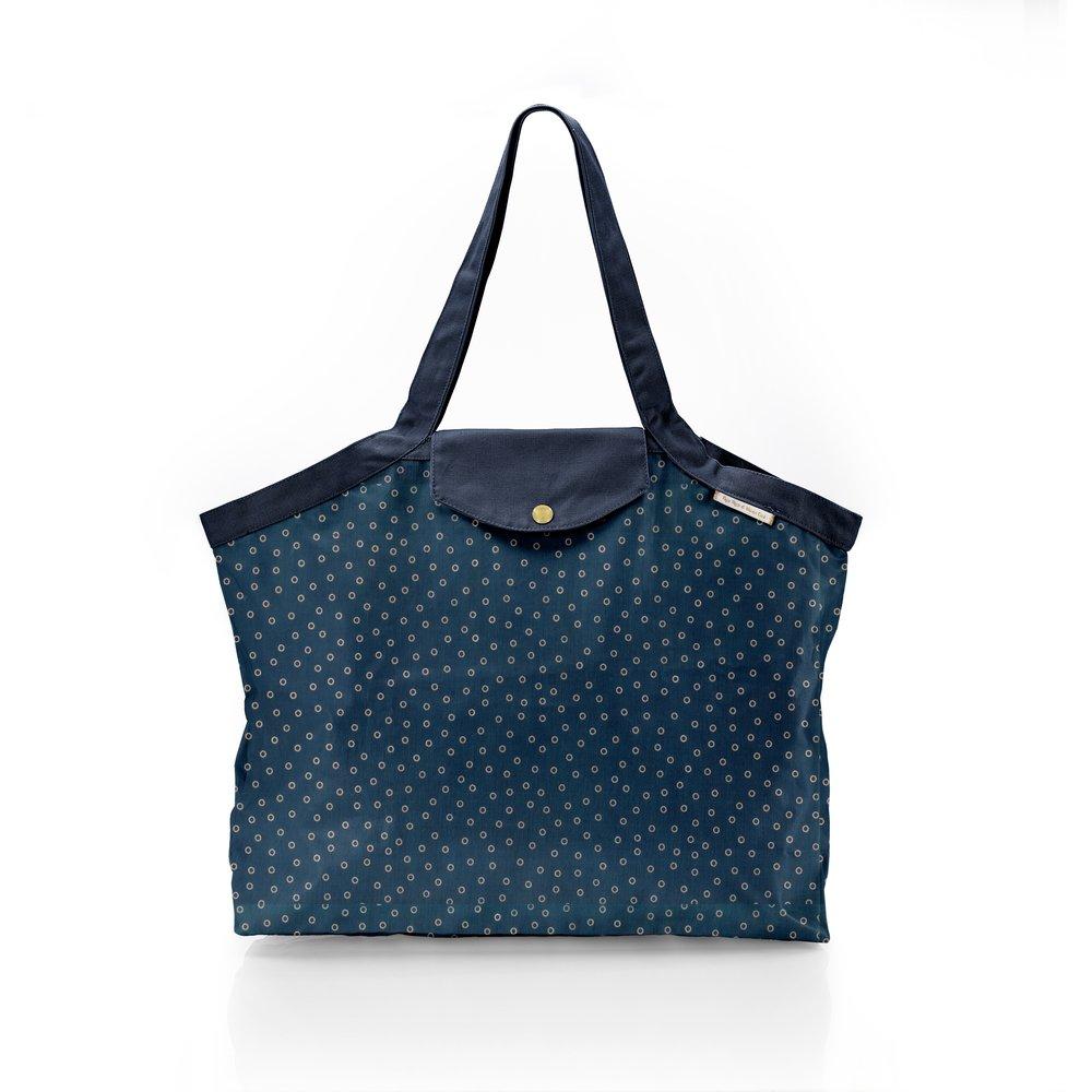Pleated tote bag - Medium size bulle bronze marine