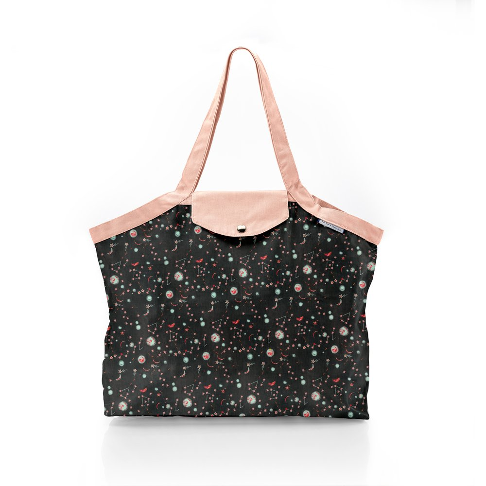 Pleated tote bag - Medium size constellations