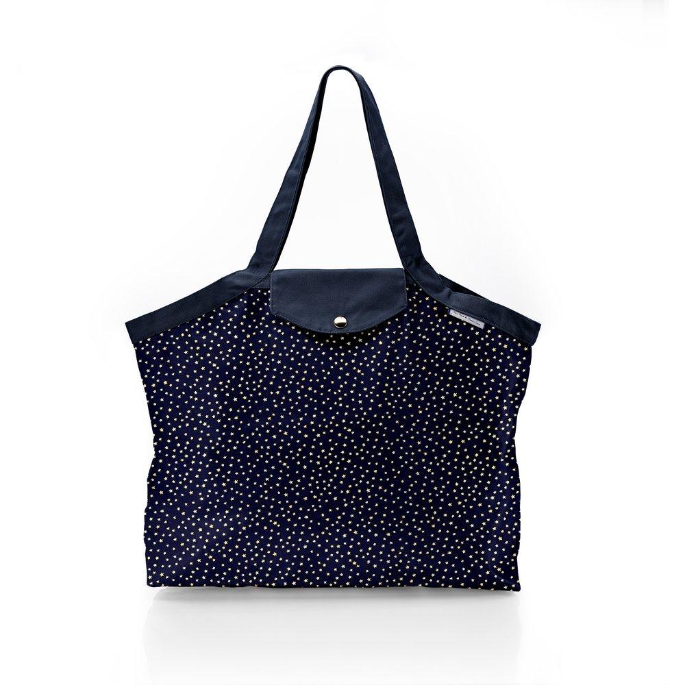 Pleated tote bag - Medium size etoile or marine