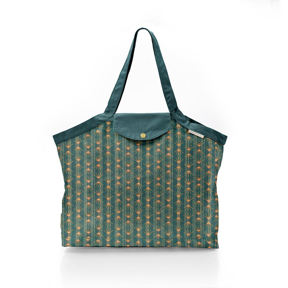 Pleated tote bag - Medium size eventail or vert