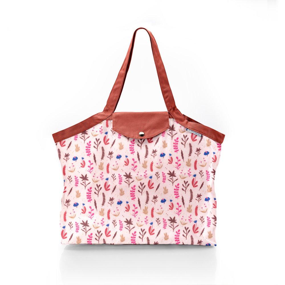Pleated tote bag - Medium size herbier rose