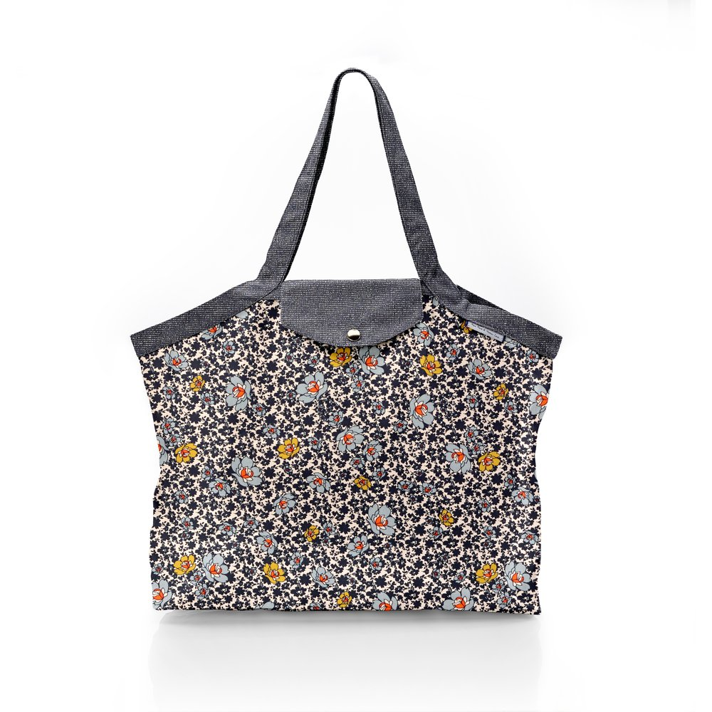Pleated tote bag - Medium size ochre flower