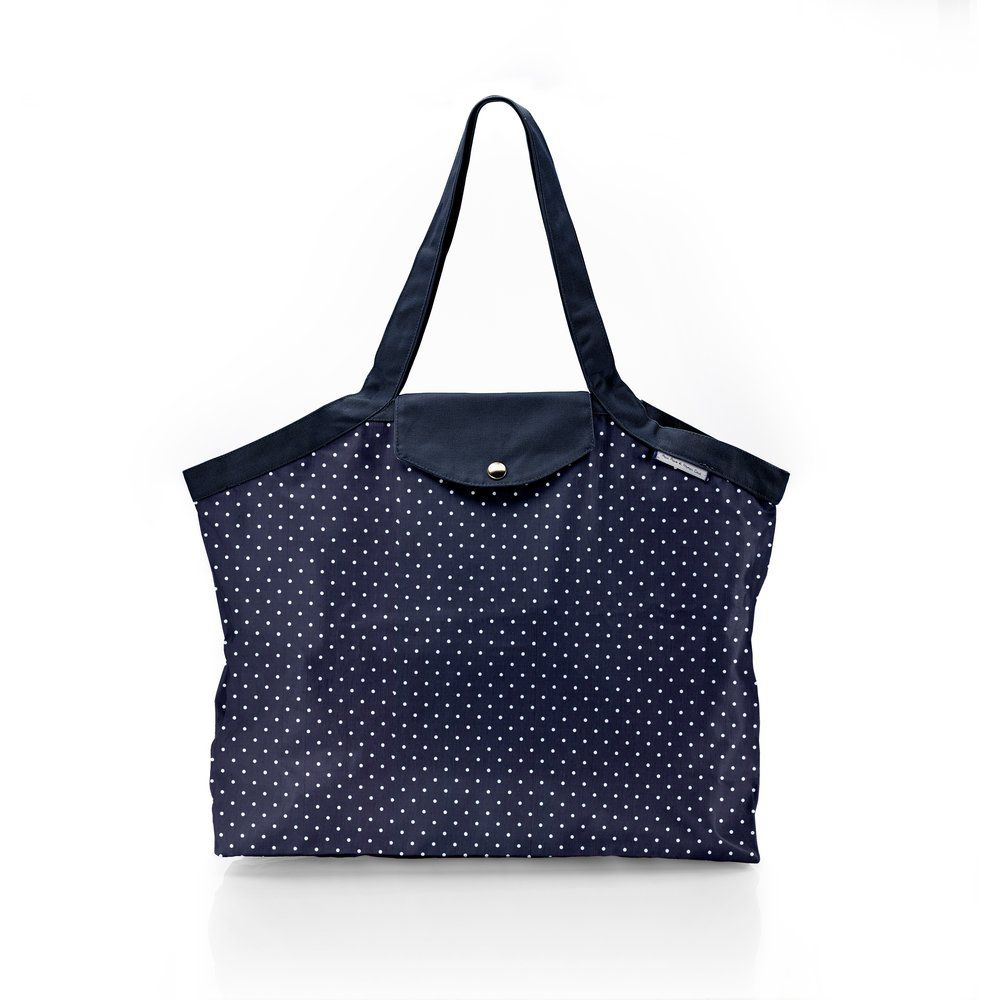 Pleated tote bag - Medium size navy blue spots