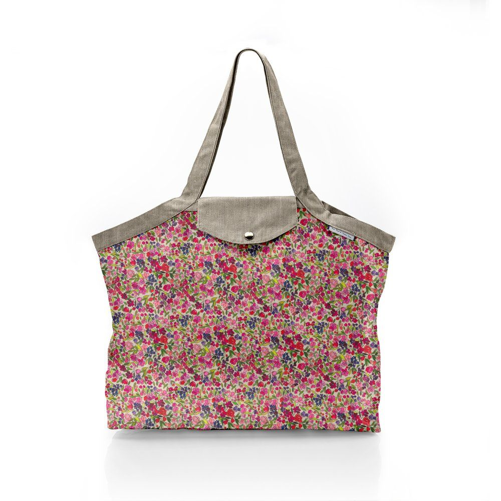 Pleated tote bag - Medium size purple meadow