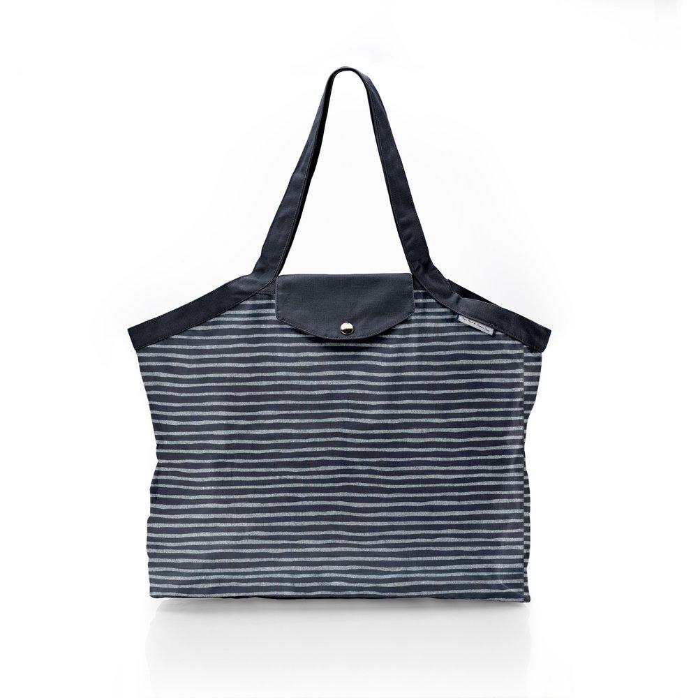 Pleated tote bag - Medium size striped silver dark blue