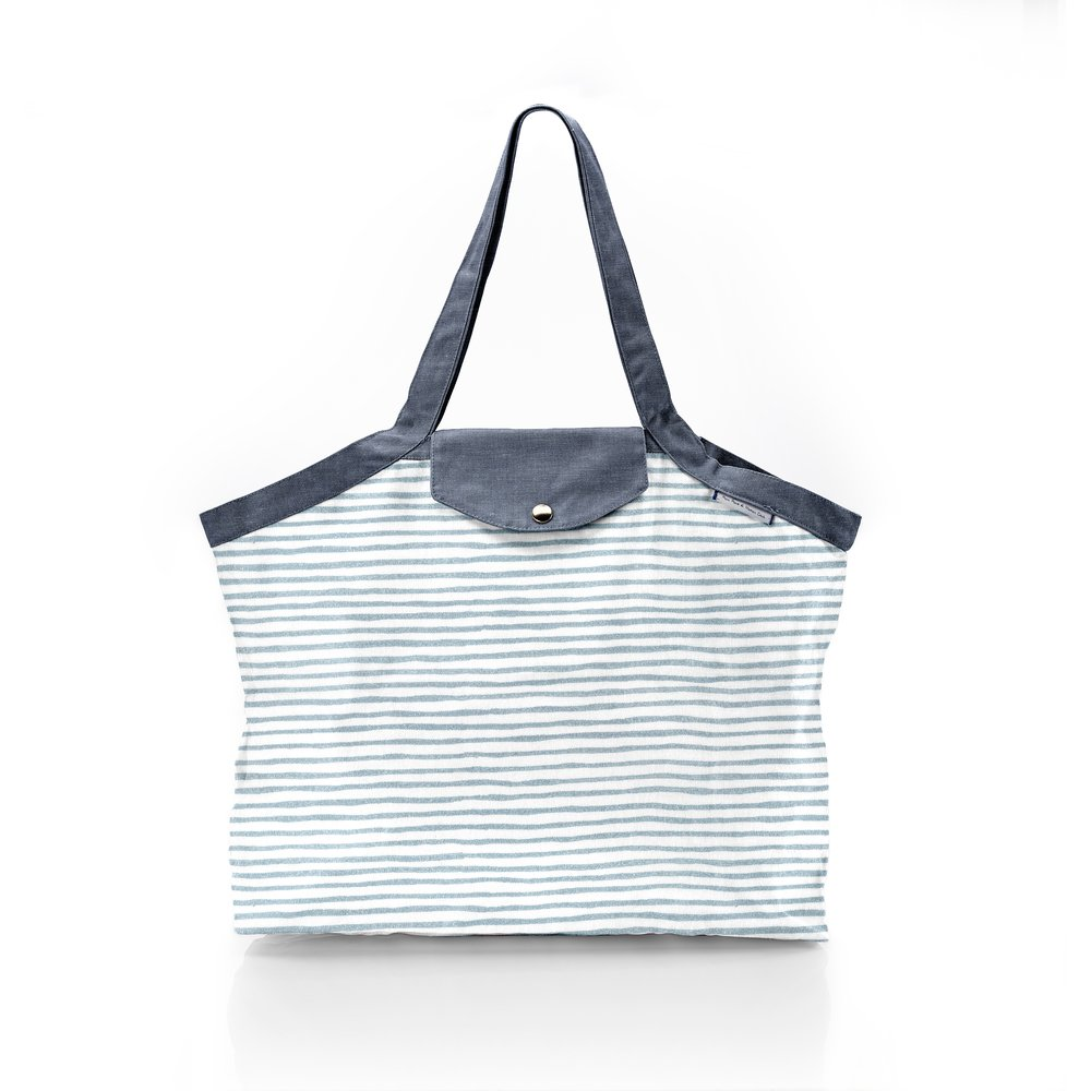 Pleated tote bag - Medium size striped blue gray glitter