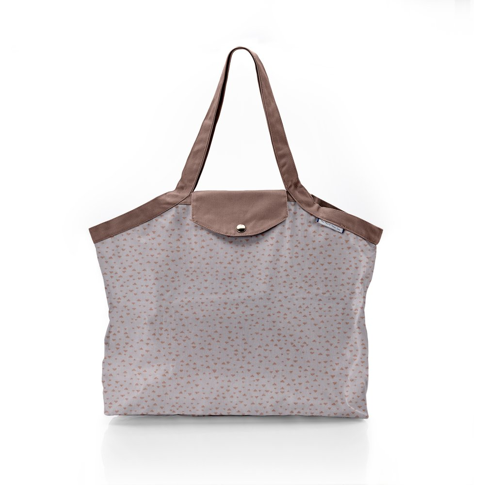 Pleated tote bag - Medium size triangle cuivré gris