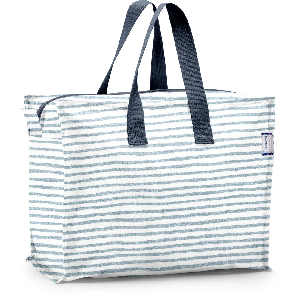 Storage bag striped blue gray glitter
