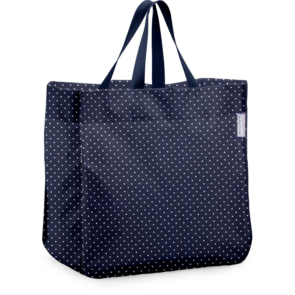 Shopping bag navy blue spots
