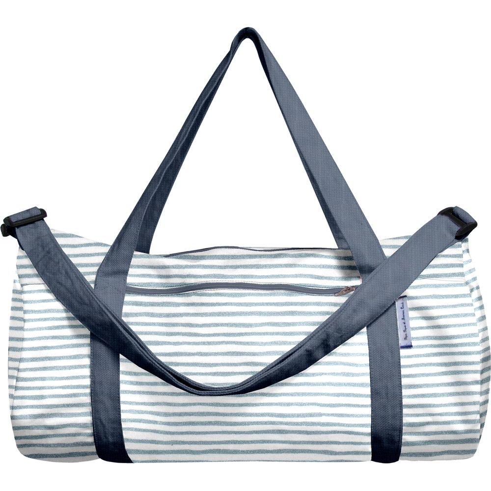 Duffle bag striped blue gray glitter
