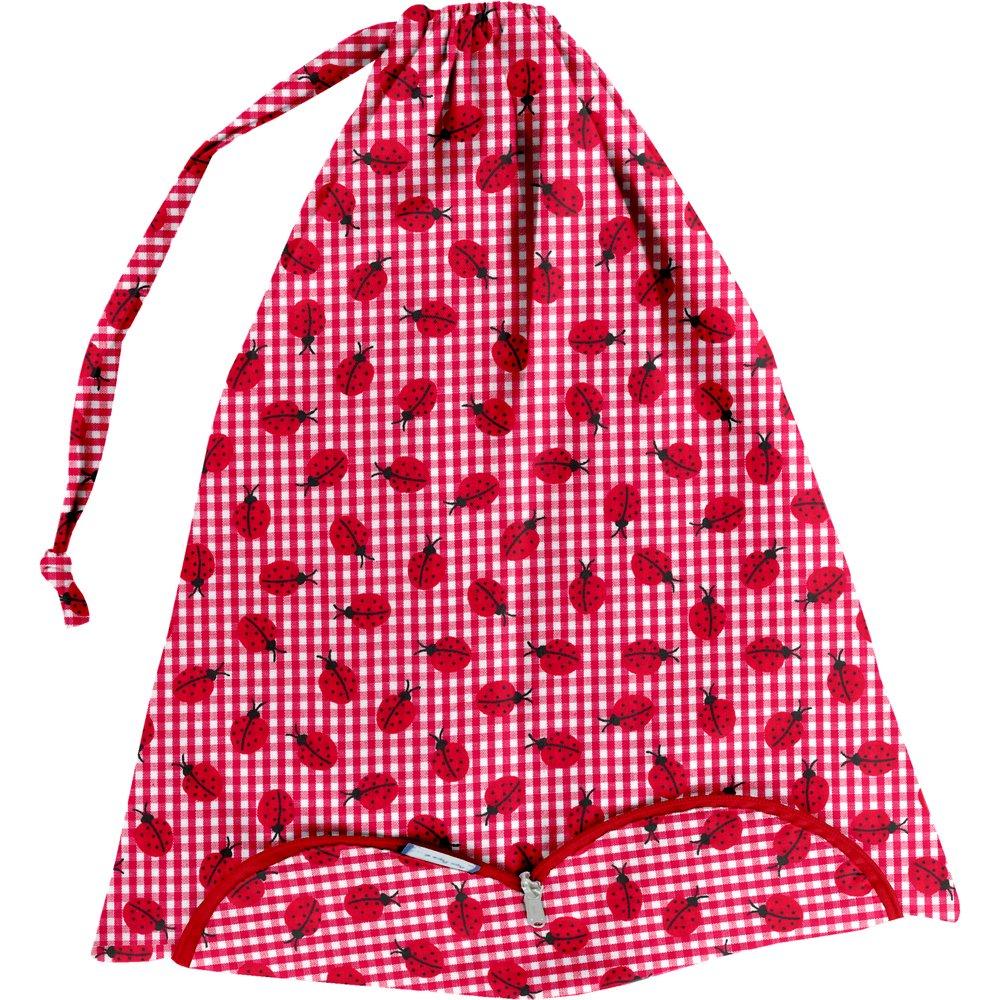 Bolsa para la ropa cuadros vichy rojo y mariquitas