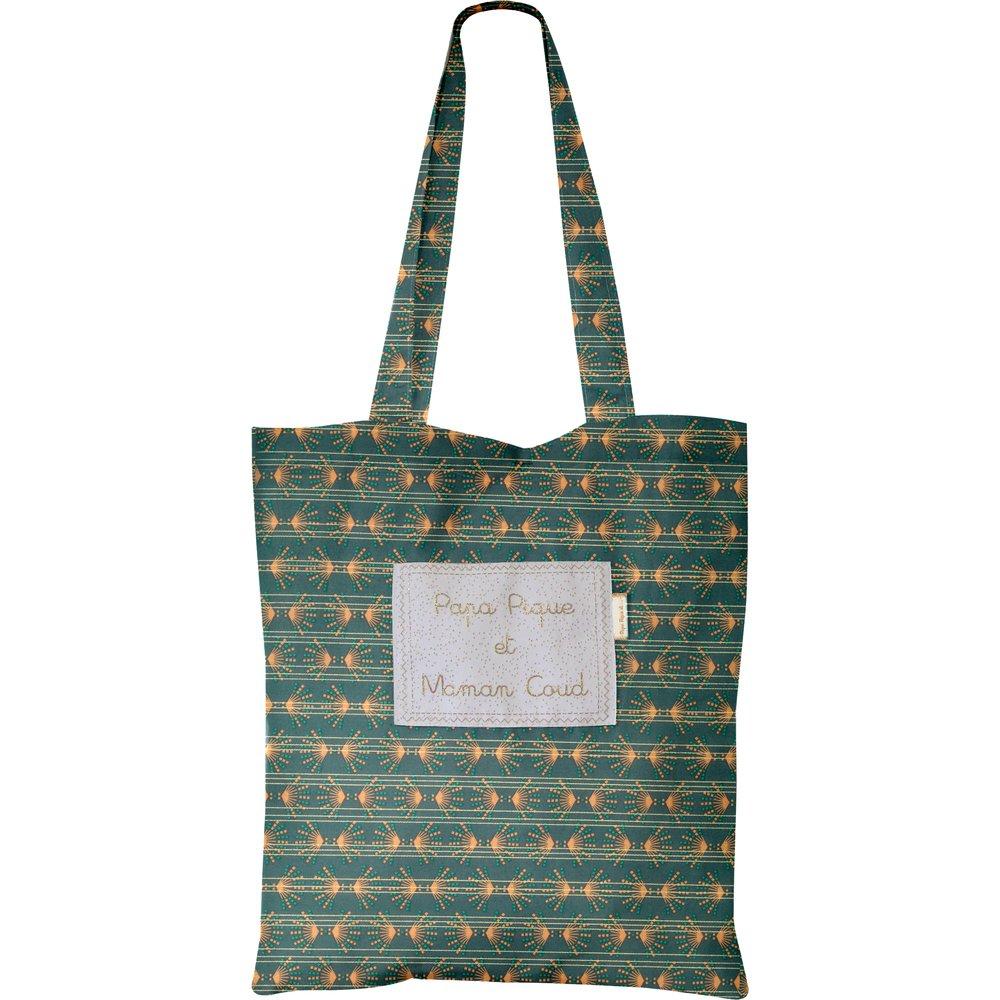 Sac tote bag eventail or vert