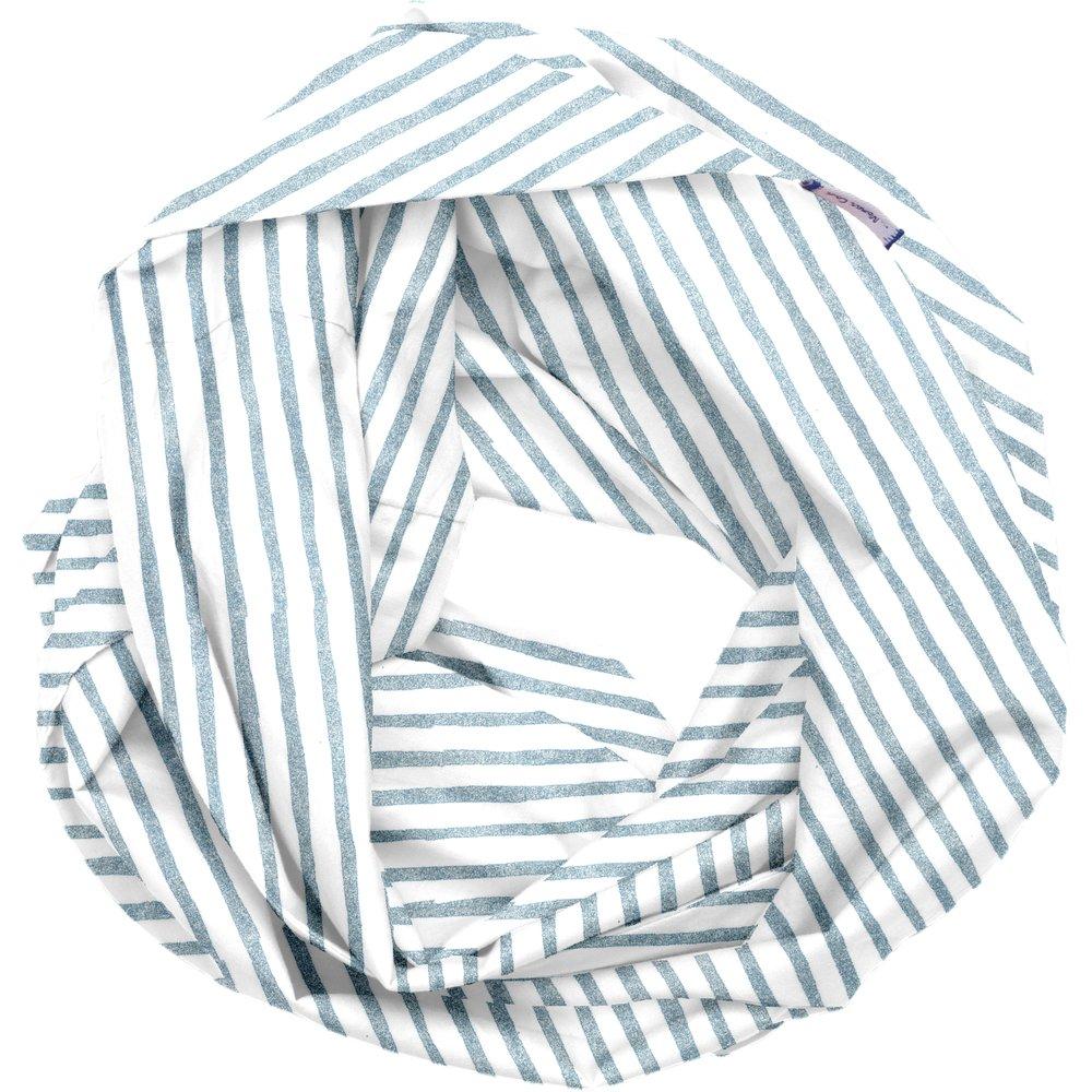 Snood tissu adulte rayé bleu blanc