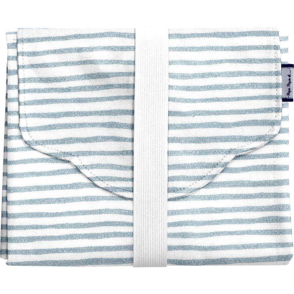 Changing pad striped blue gray glitter