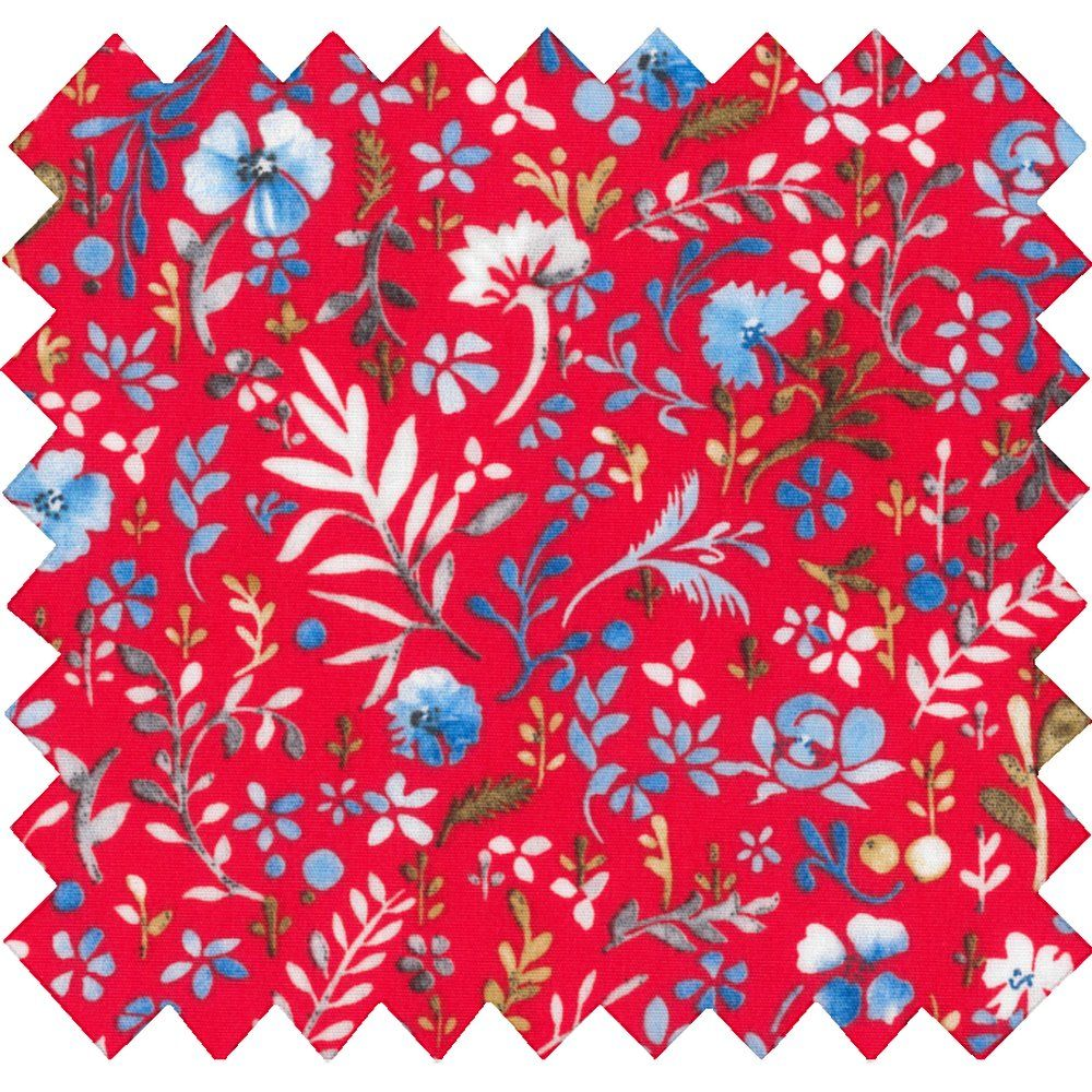 Cotton fabric cherry cornflower
