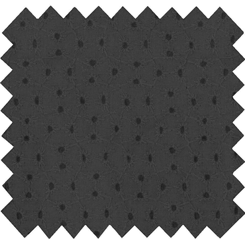 Cotton fabric broderie anglaise noire