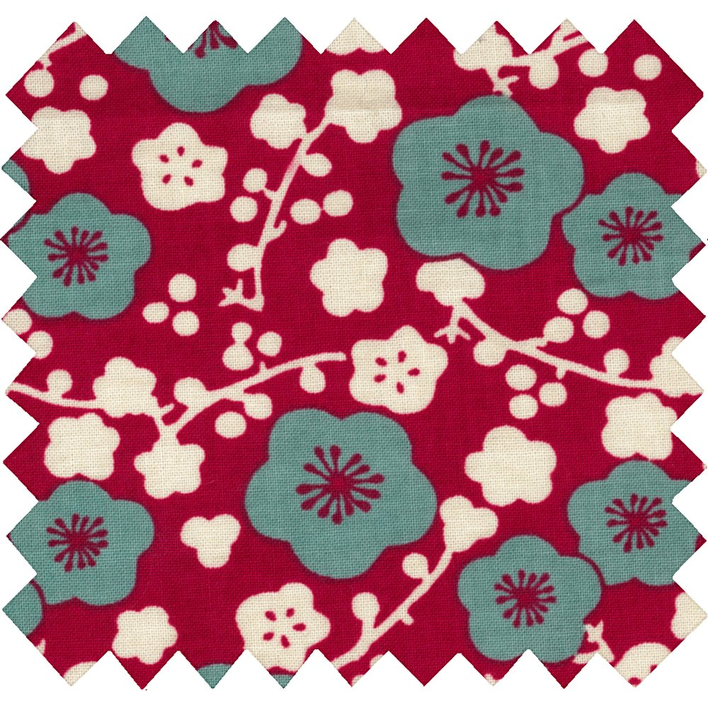 Cotton fabric ruby cherry tree