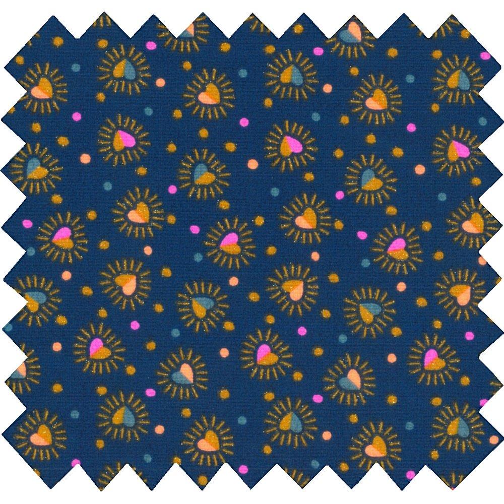Tissu coton  coeur scintillants