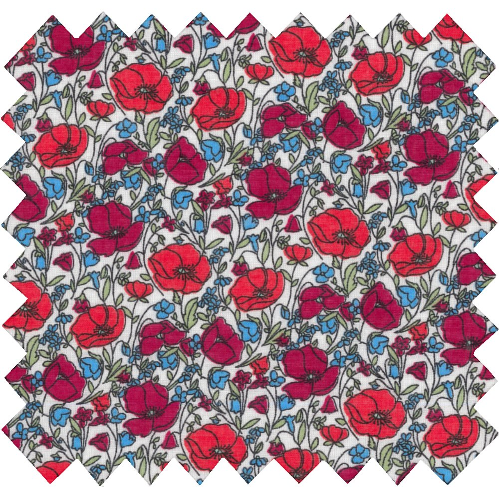 Cotton fabric poppy