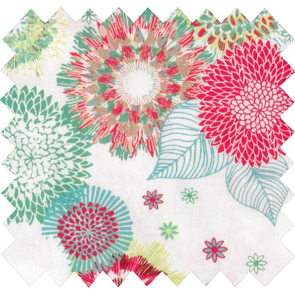 Cotton fabric powdered  dahlia
