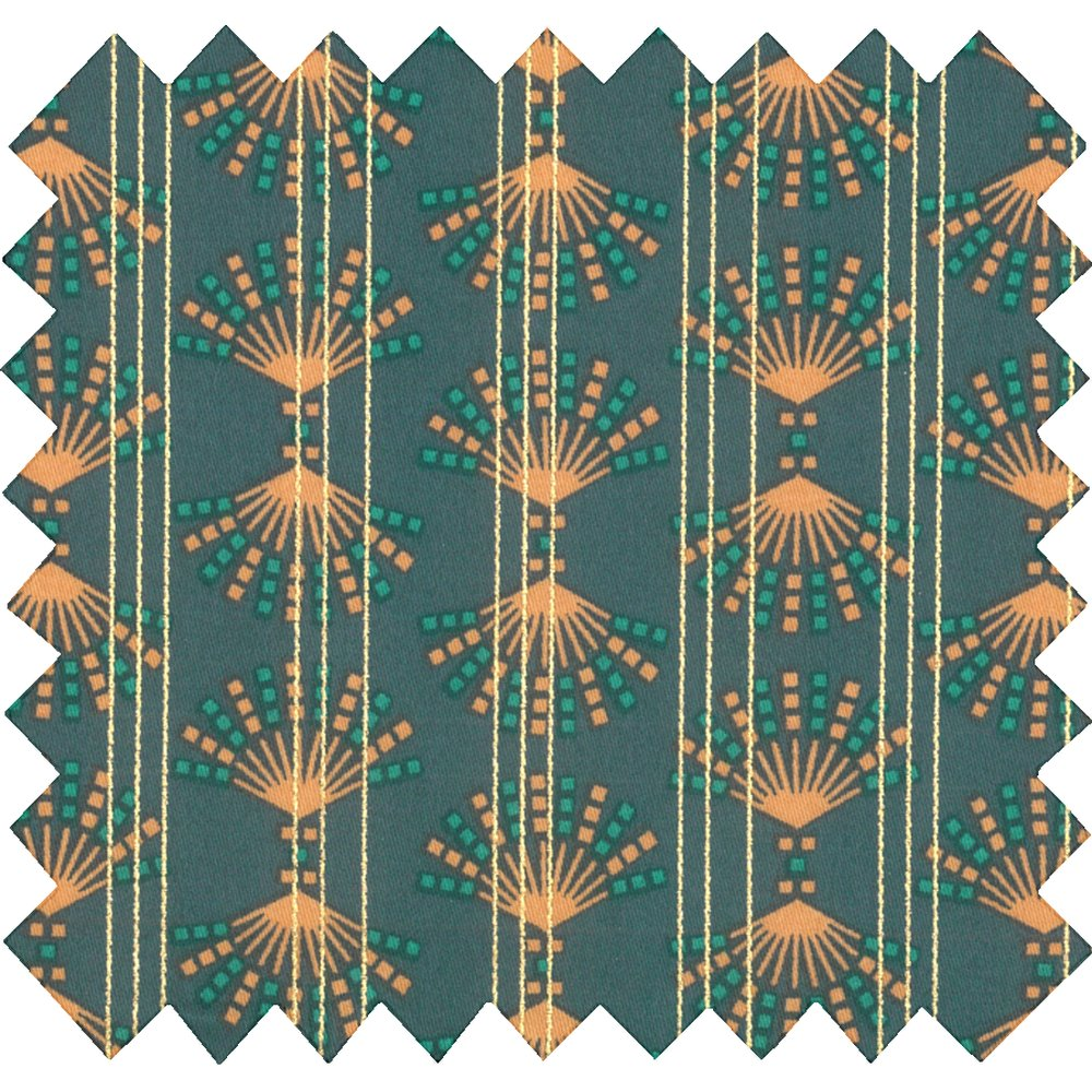 Cotton fabric eventail or vert