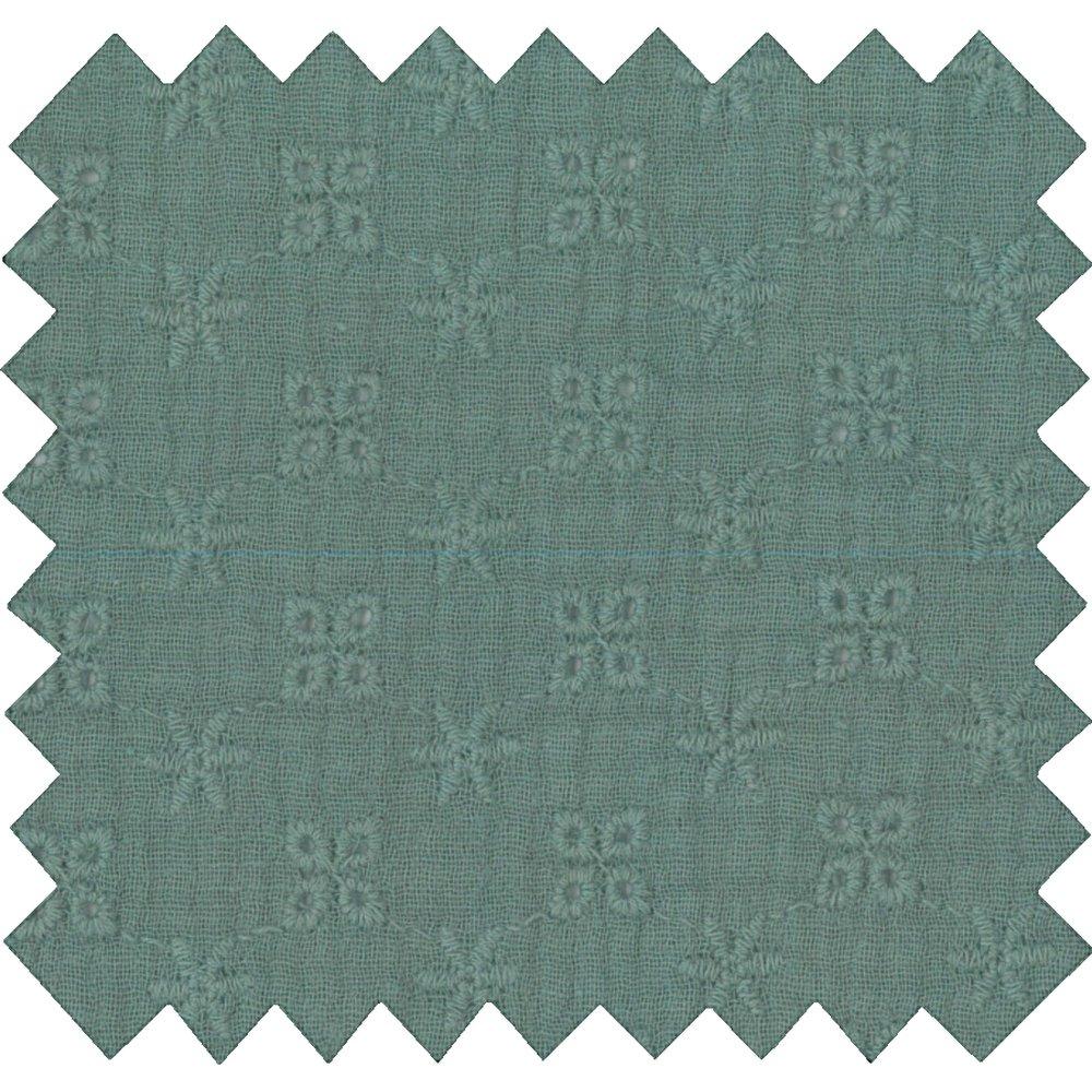 Tissu coton gaze dentelle mint ex1040