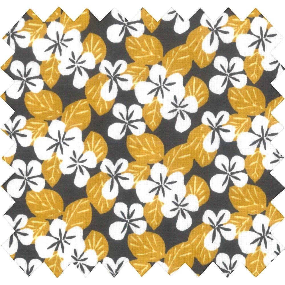 Cotton fabric fleurs moutarde ex1055