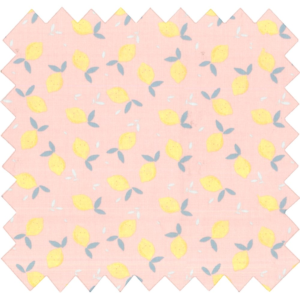 Cotton fabric pink yellow citrus