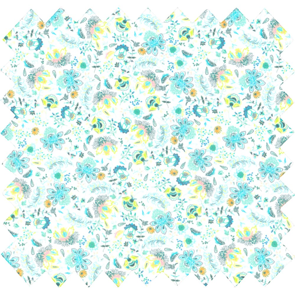 Cotton fabric green and white flowers