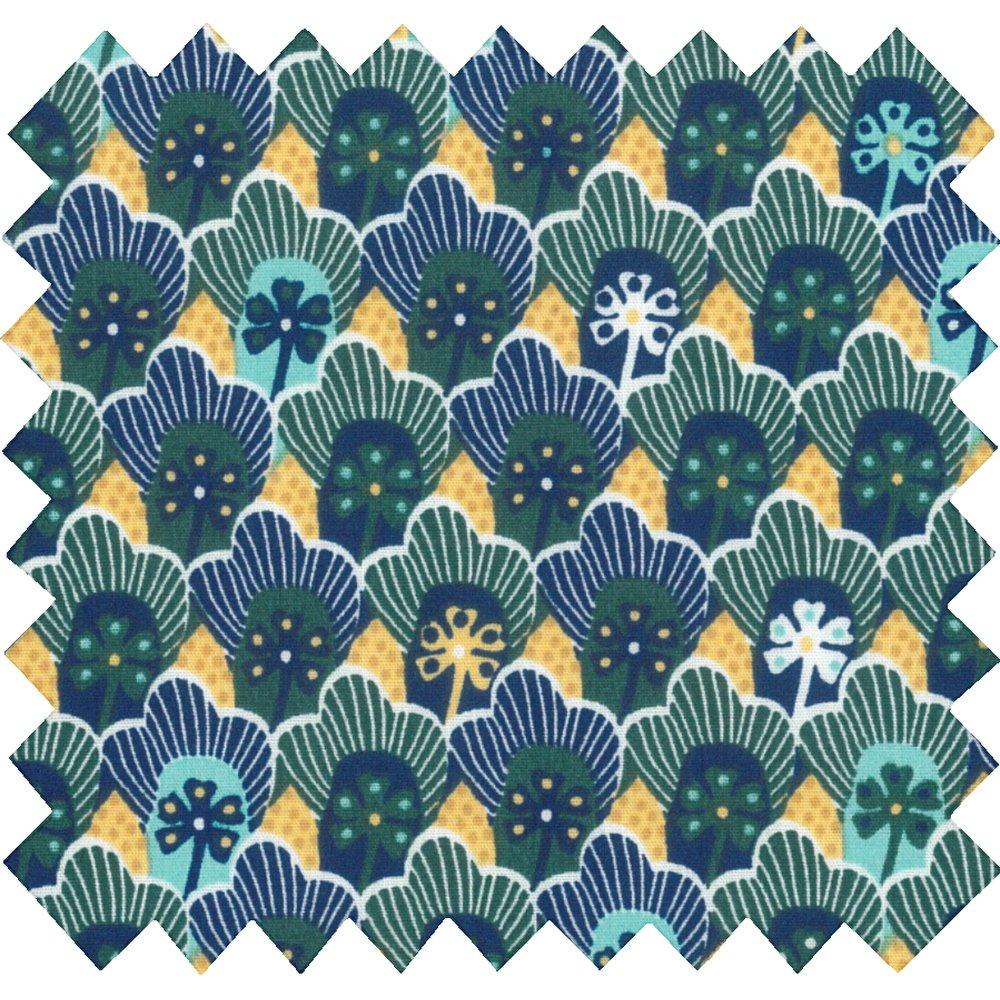Tissu coton au mètre fleurs géo vert jaune ex1071