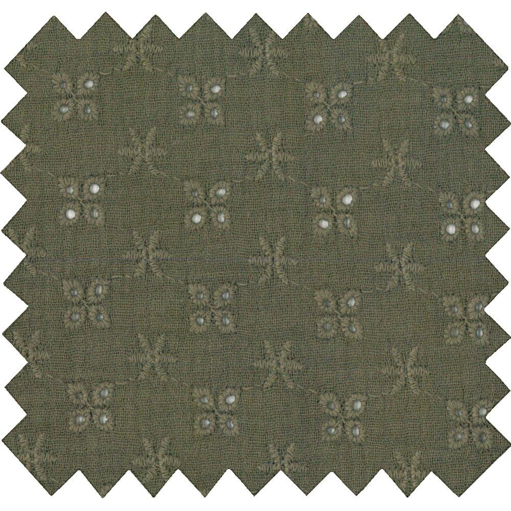 Tissu coton au mètre gaze dentelle kaki ex1074