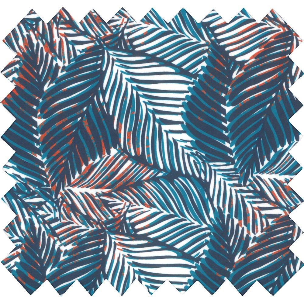 Tissu coton au mètre feuillage marine