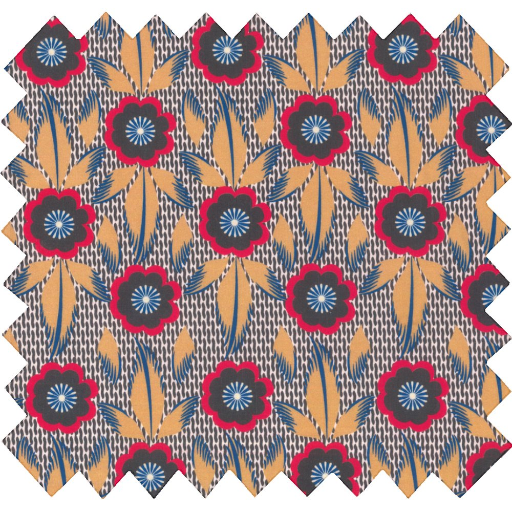Cotton fabric fleurs de savane