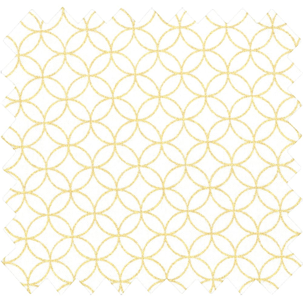 Tissu coton lozanges cercles dorés ivoire