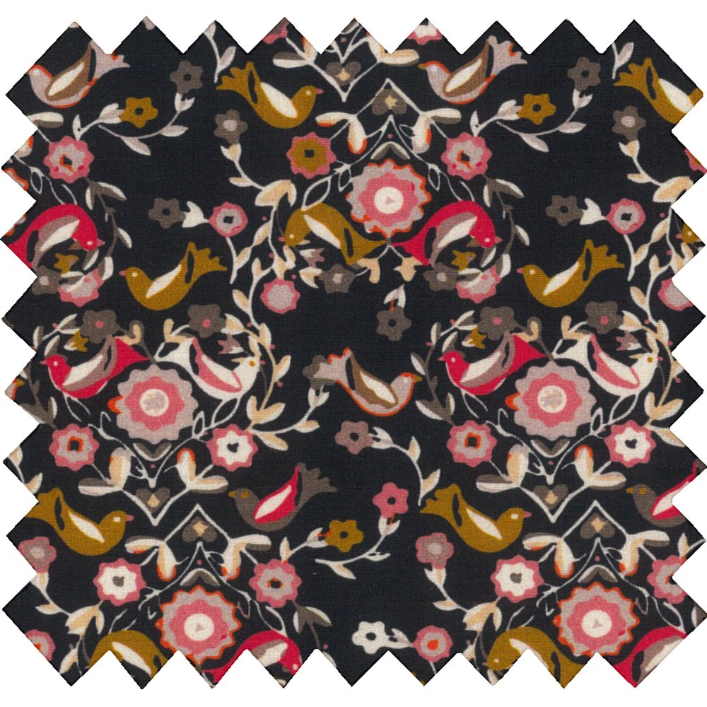 Cotton fabric ochre bird