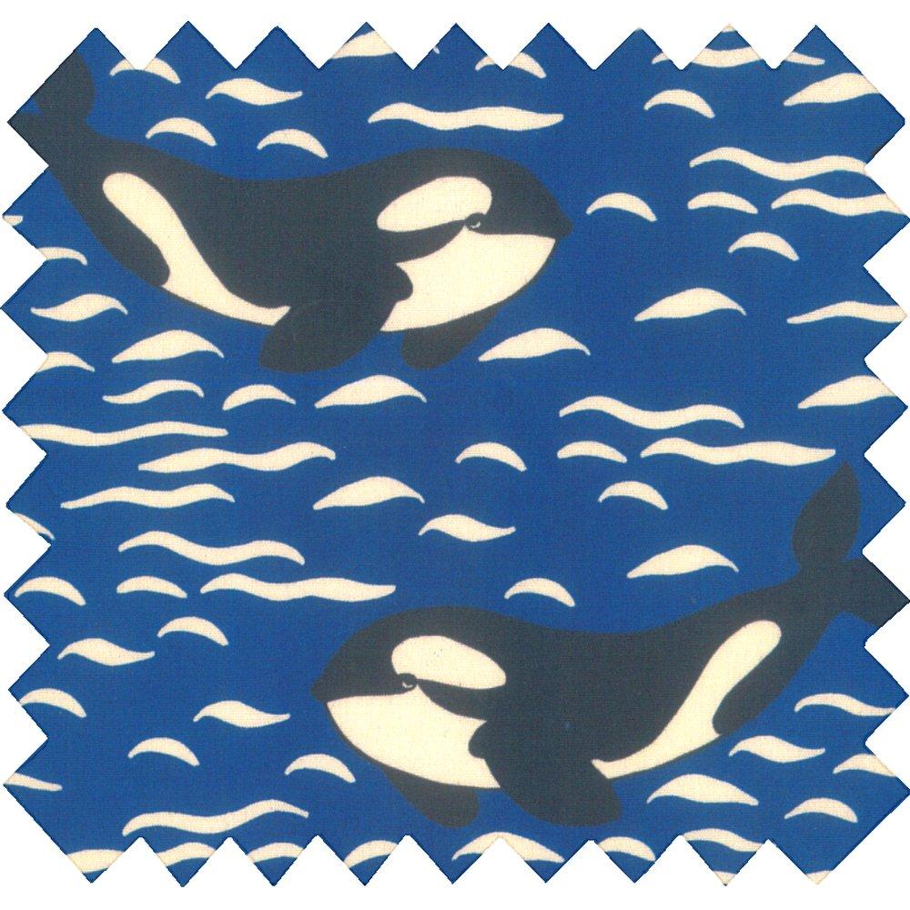Cotton fabric orque bleue