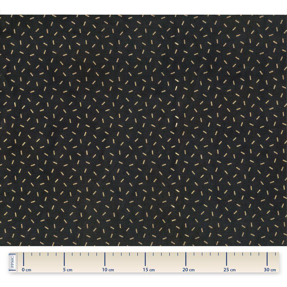 Tissu coton  paille dorée noir