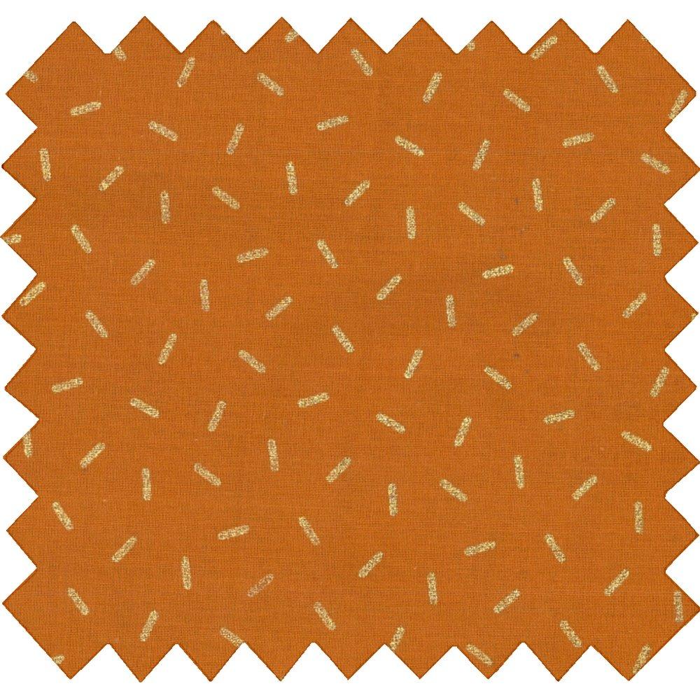 Tissu coton paille dorée caramel