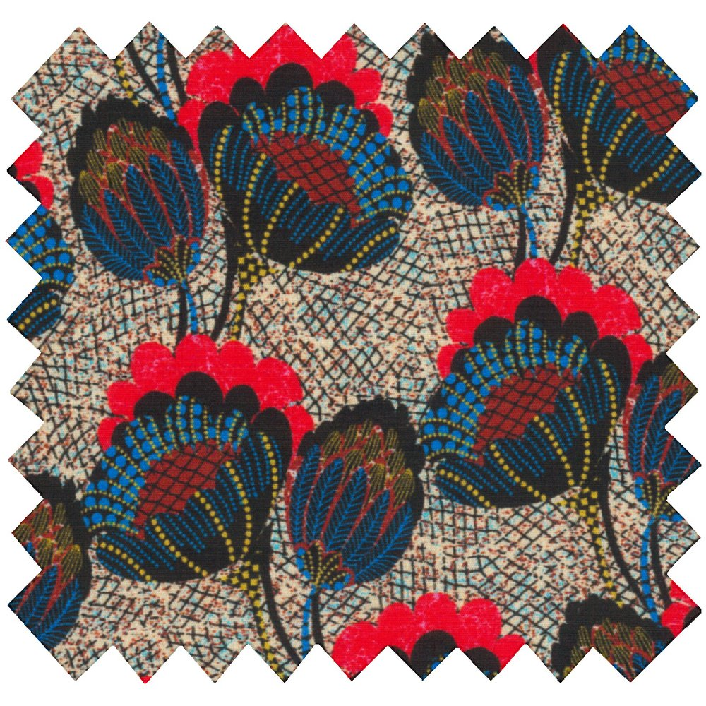 Cotton fabric royal poppy