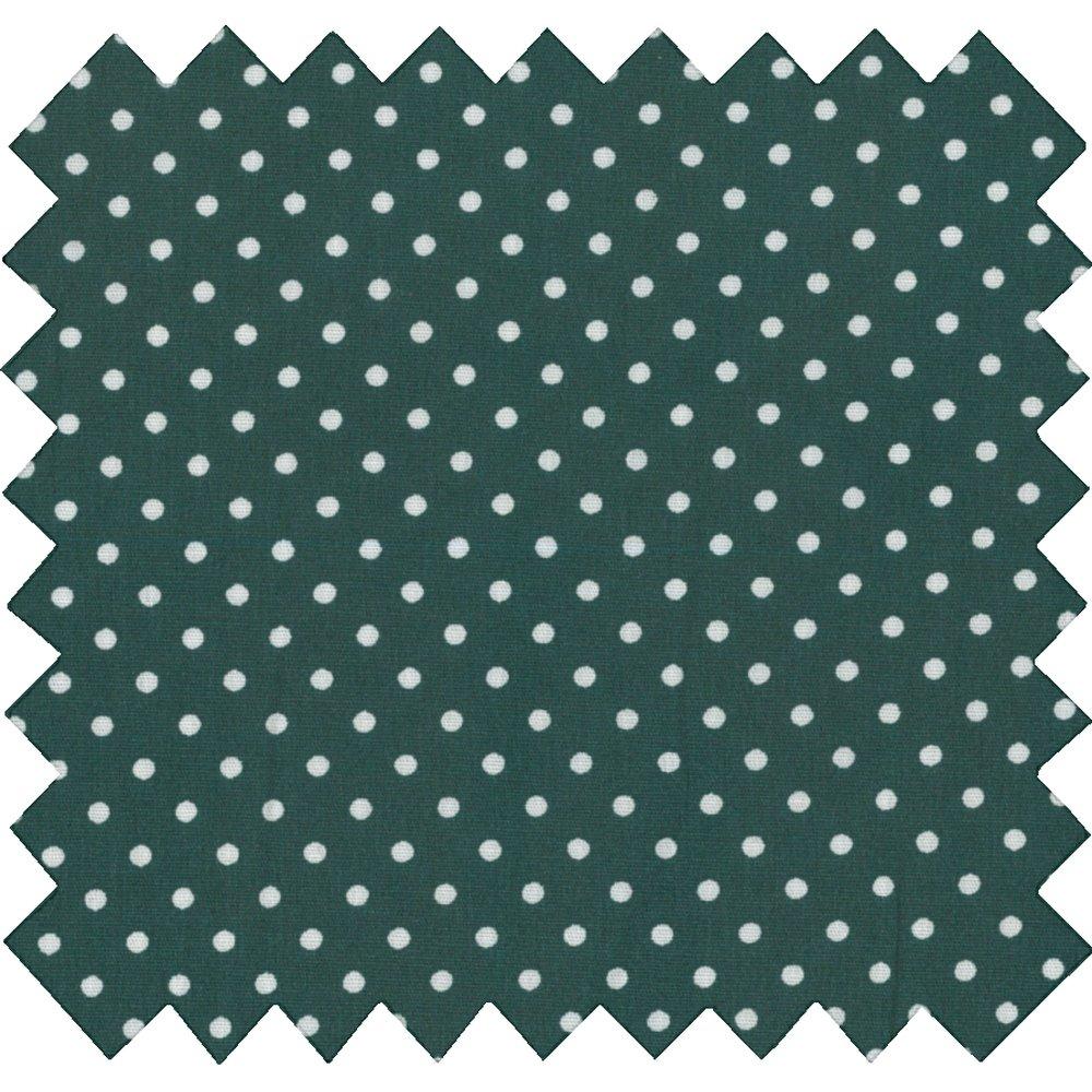 Tissu coton pois blanc vert