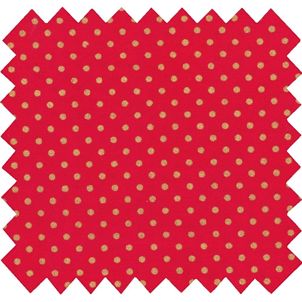 Tissu coton pois or rouge