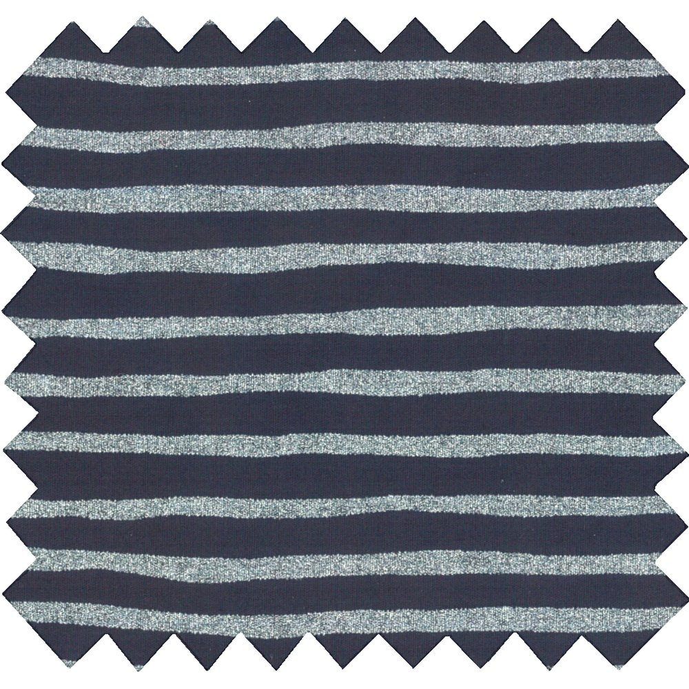 Tissu coton rayé argent marine