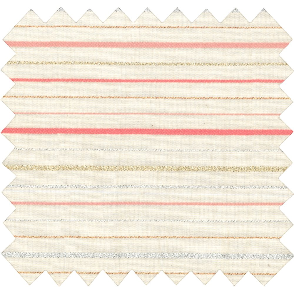 Cotton fabric silver pink striped
