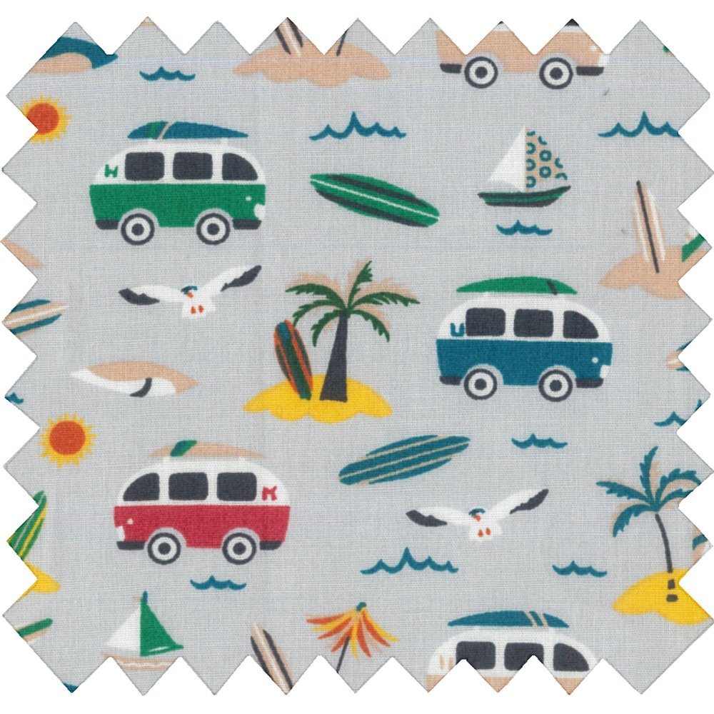 Cotton fabric surfing paradise