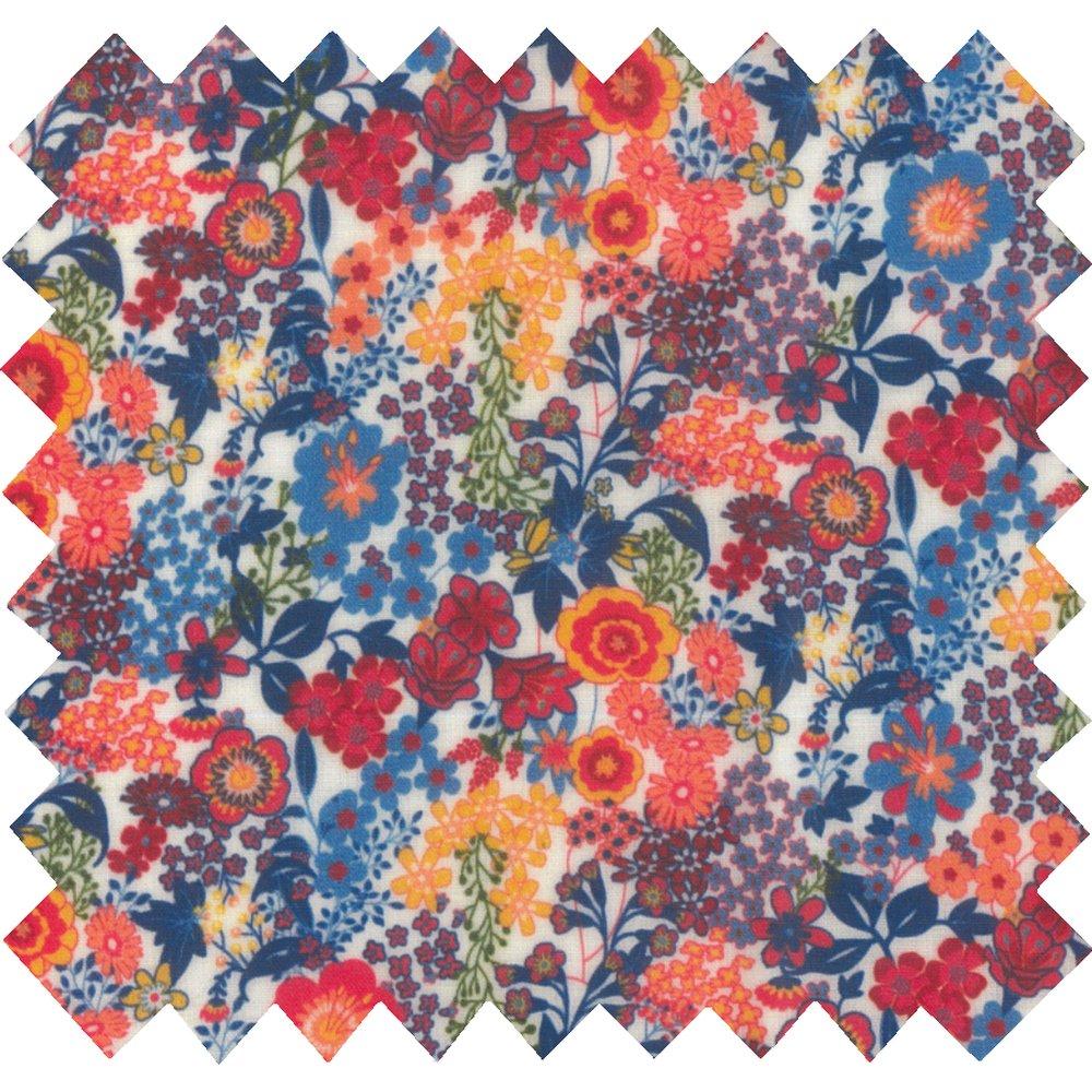 Tissu enduit  au mètre fleuri orange bleu blanc ex1064
